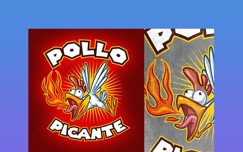 Cartoon Spicy Chicken Logo
