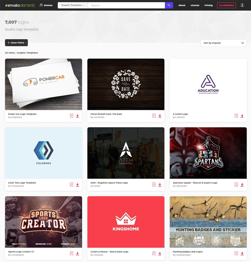 Logo design ideas from Envato Elements