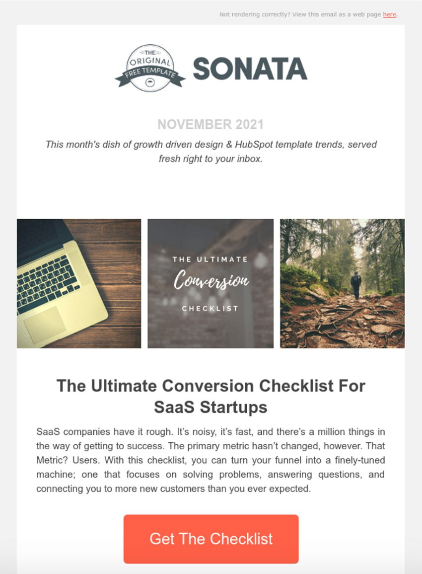 Sonata Free HTML Email Template Download