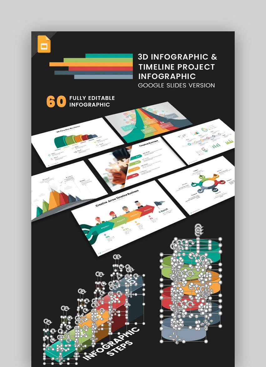 3D Infographic  Timeline - Google Infographic Templates