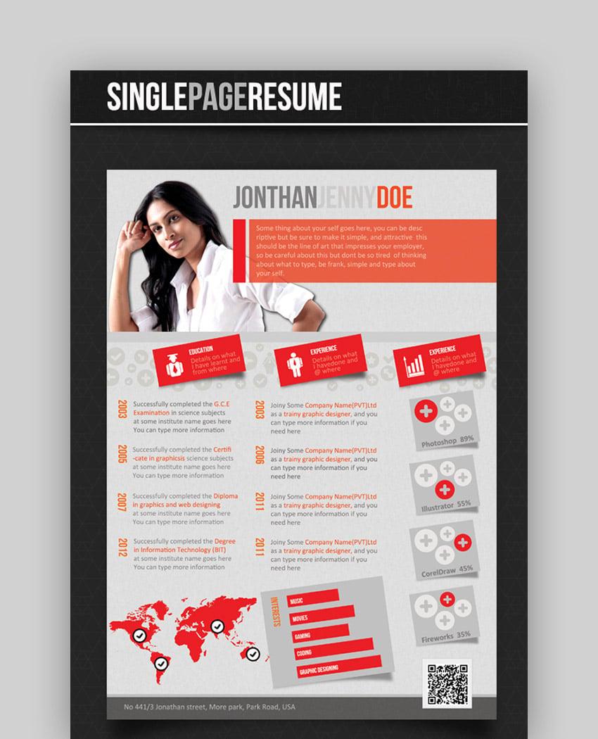 Single-Page Eye-Catching CV Templates