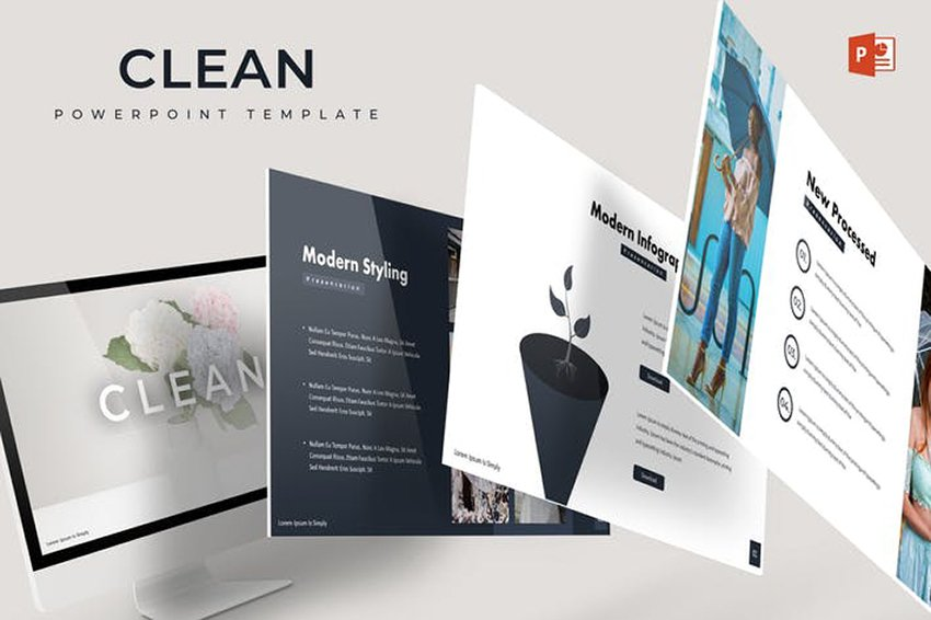 Clean - Cool Minimalistic PowerPoint Template that helps you keep it short simple and focused