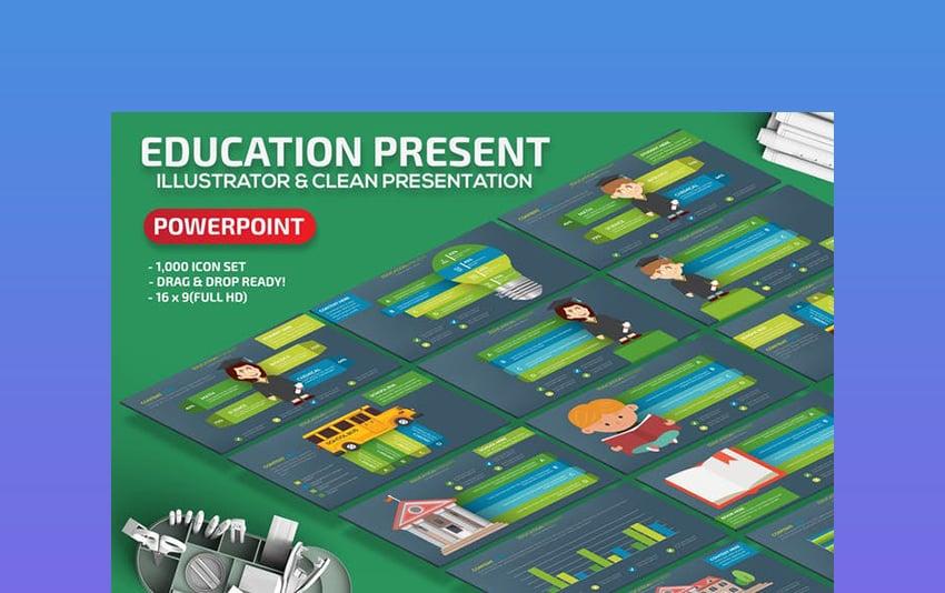 Education - Black  Green Board PowerPoint Template