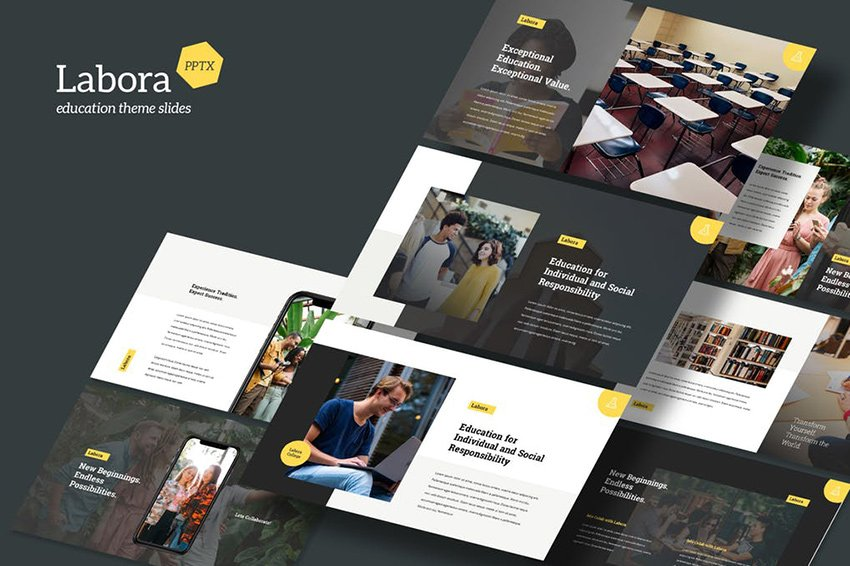 Labora - Elegant Education Theme PowerPoint Template mixes up the background colors of its slides