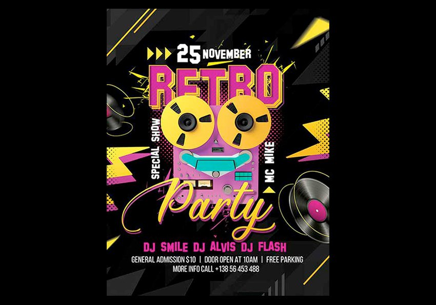 Retro Club Party Free Flyer Template