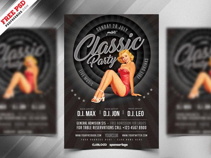 Vintage Style Party Flyer Design PSD