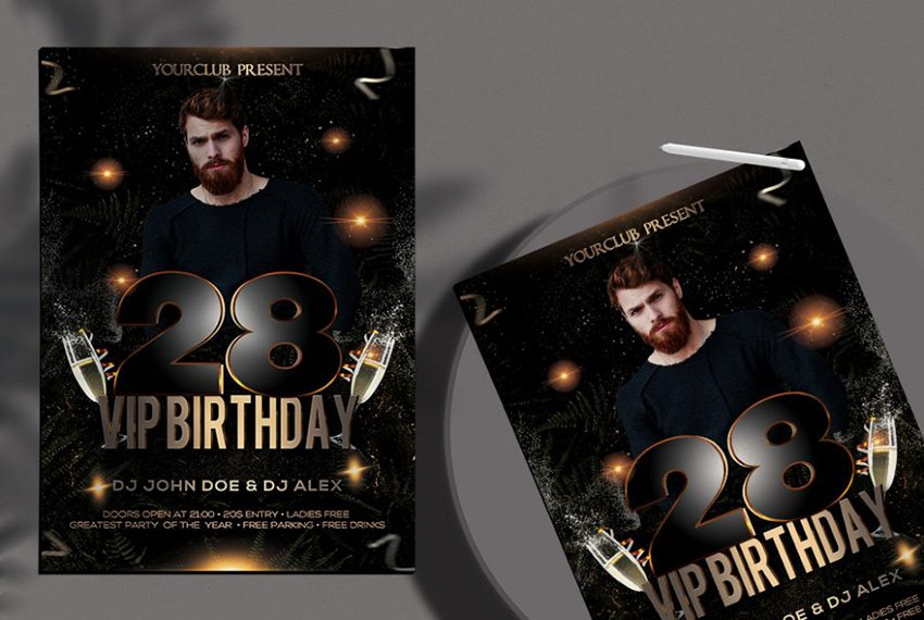 Free Black and Gold Birthday Flyer Background