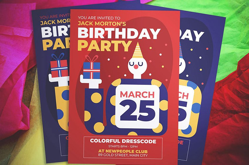 Clown Birthday Flyer on Envato Elements is not wordy and has loads of white space