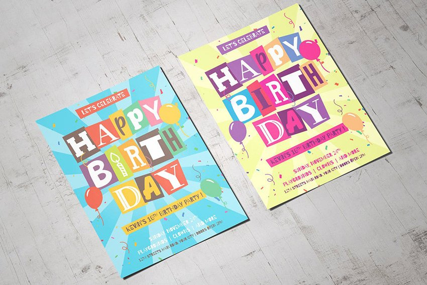 Cutout Letters Isolated Happy Birthday Flyer a premium pre-built template on Envato Elements
