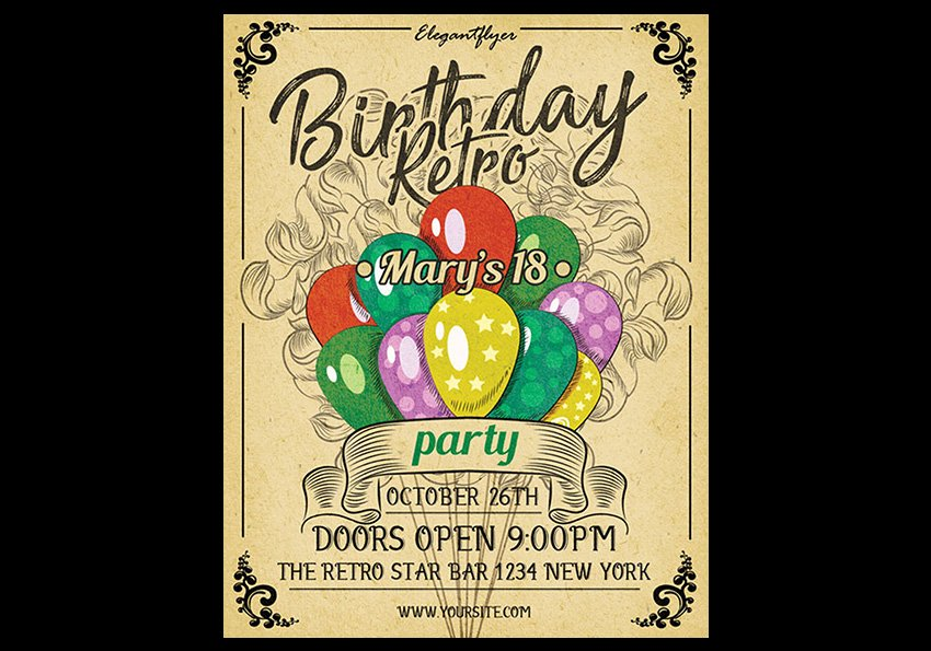 Retro - Free Birthday Bash Flyer