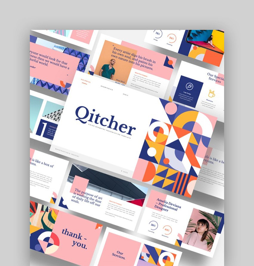 Qitcher - Color Geometry PowerPoint Abstract Example