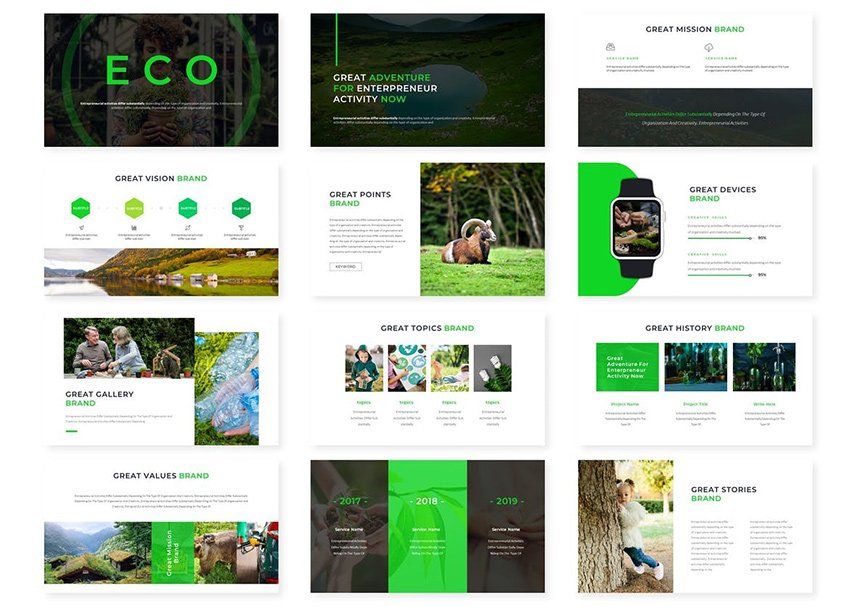 Green Eco PowerPoint Template a premium slide background green on Envato Elements