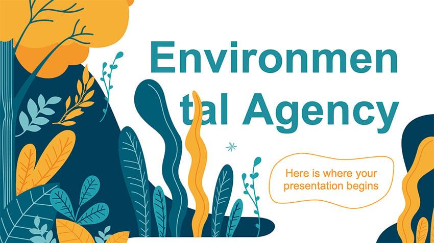 Environmental Agency - Free Dark Green PowerPoint Template