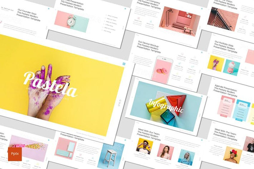 Pastela - PowerPoint Template a professionally designed template on Envato Elements
