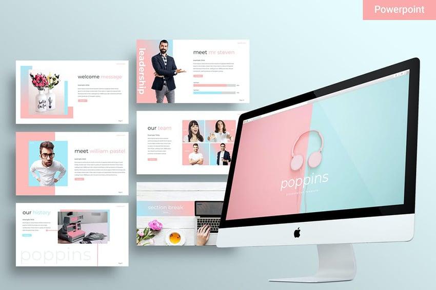 Poppins - Pastel PowerPoint Template a premium pre-built template on Envato Elements