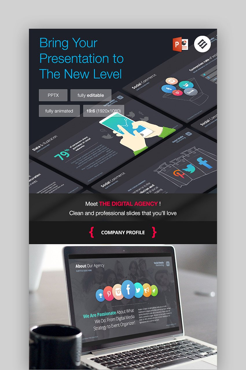 The Digital Agency - Dark Background for PowerPoint Presentation