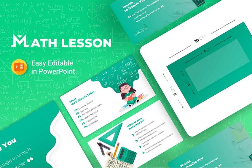 Math Lesson - PowerPoint Cartoon Template a premium pre-built cartoon template on Envato Elements