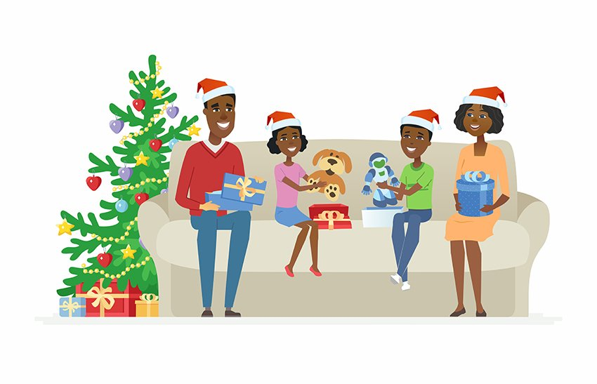 Family opens Christmas presents - illustration