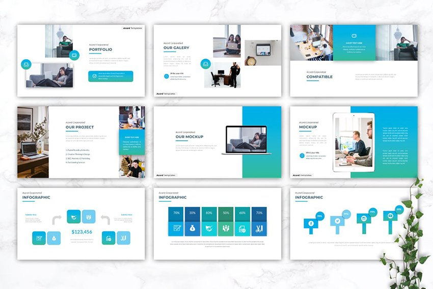 ACORD Consultant PowerPoint Template, a minimalistic template on Envato Elements
