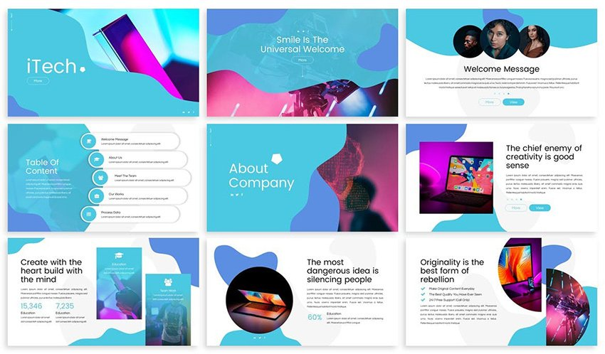 iTech - Computer Security PowerPoint Theme, a premium template from Envato Elements that comes with custom image masks
