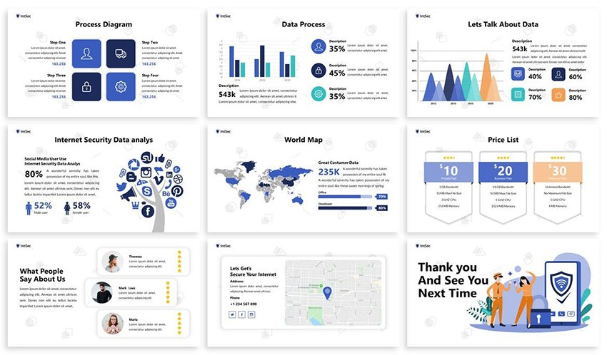 iTech - Computer Security PowerPoint Theme, a minimalistic cyber security template on Envato Elements