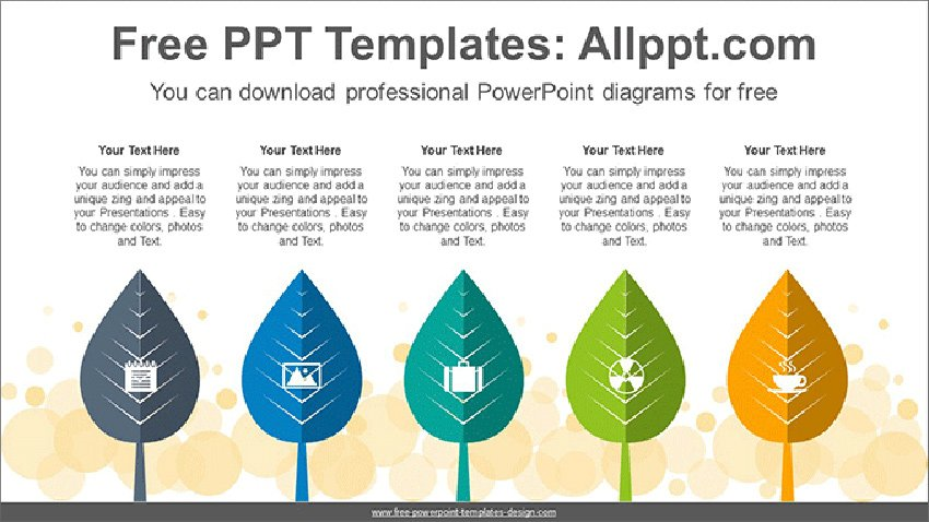 Five Trees Free List PowerPoint Diagram Template