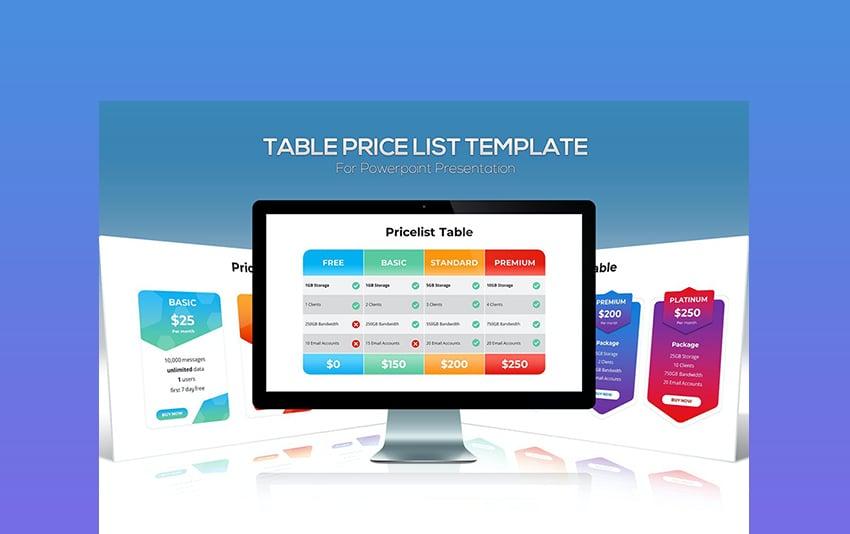 Table Price List Template List PPT
