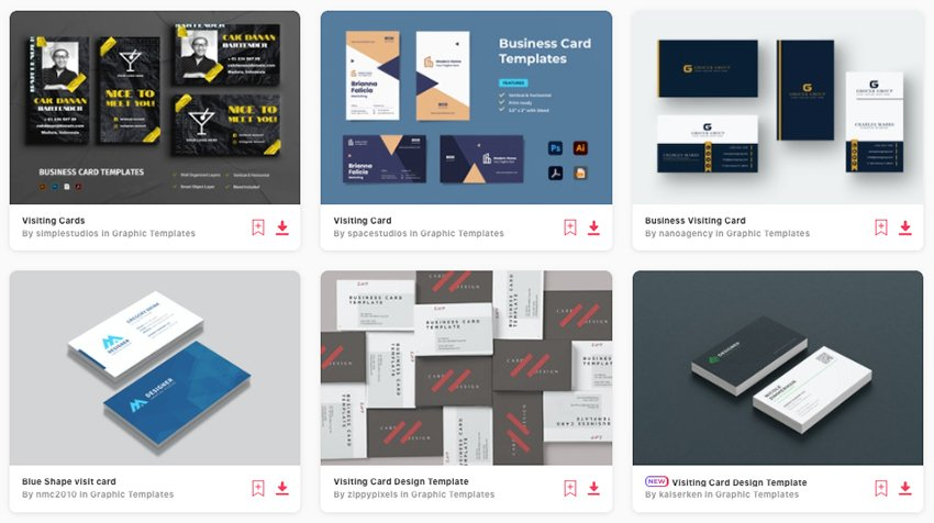 Premium business visiting card templates from Envato Elements