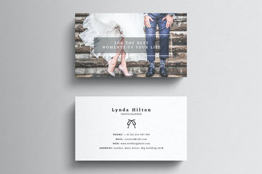 Wedding Photography Visiting Card Template, uses the back of the card to display work