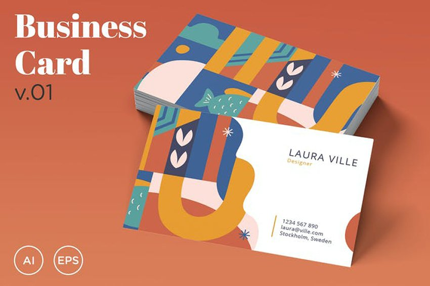 Colorful and Abstract Business Card v.01, a premium template from Envato Elements