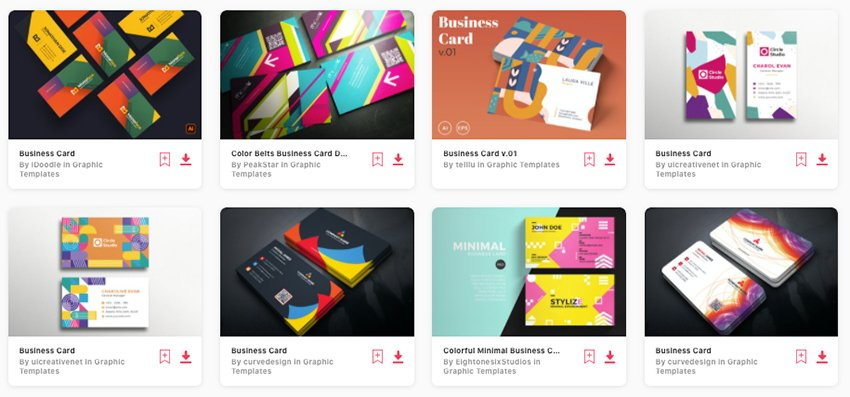Premium colorful business card templates from Envato Elements