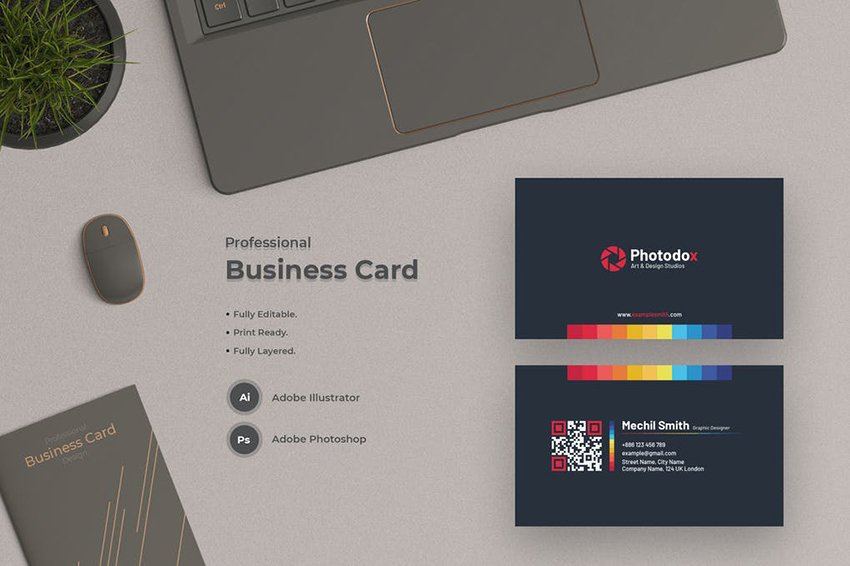 Modern Business Card Template from Envato Elements uses a QR code