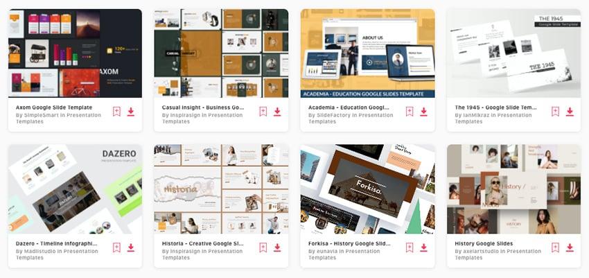Premium Google Slides Themes History from Envato Elements