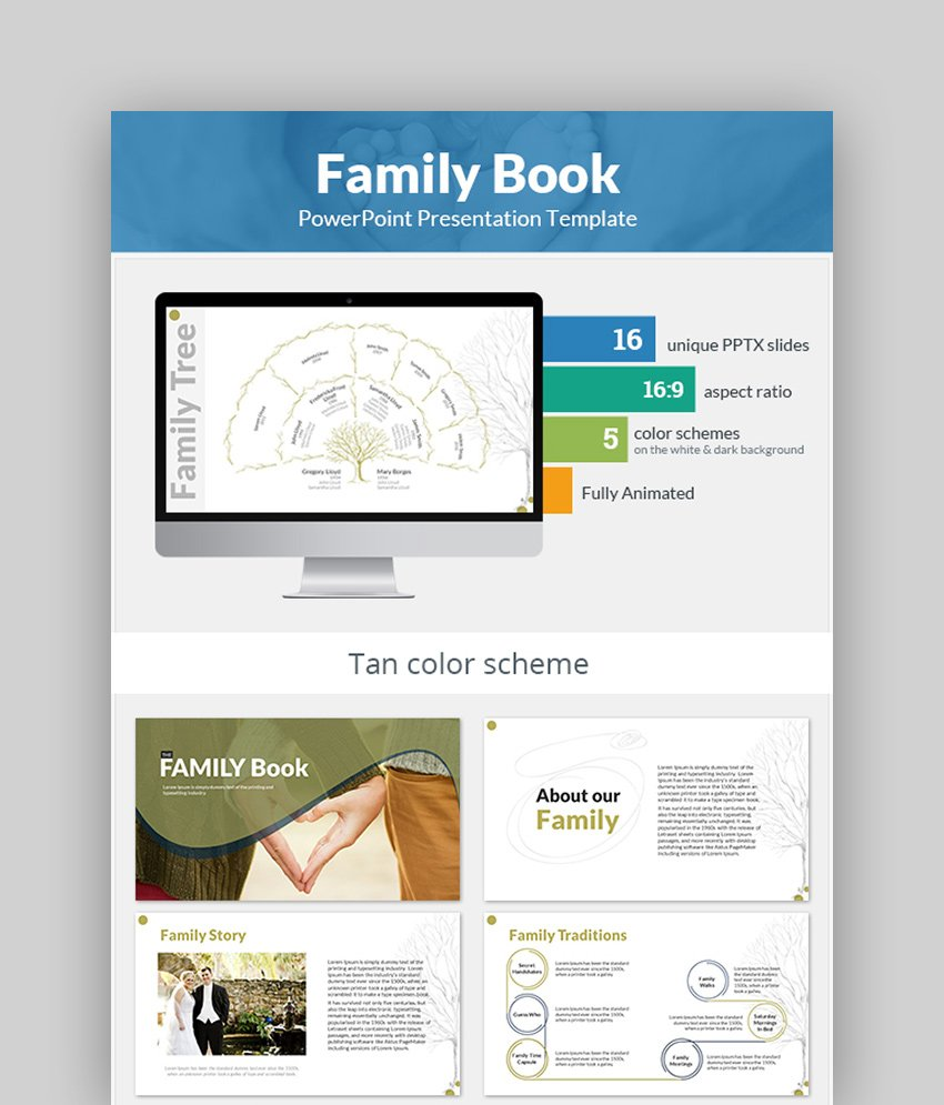 Family Book History PPT Template