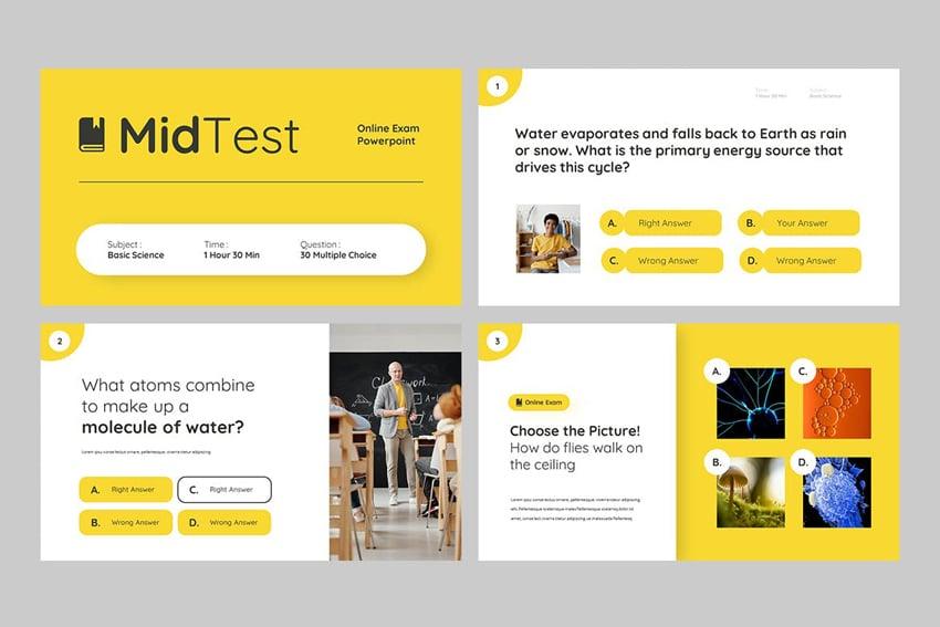 MIDTEST - Education Quiz Google Slides Template, a minimalistic template on Envato Elements