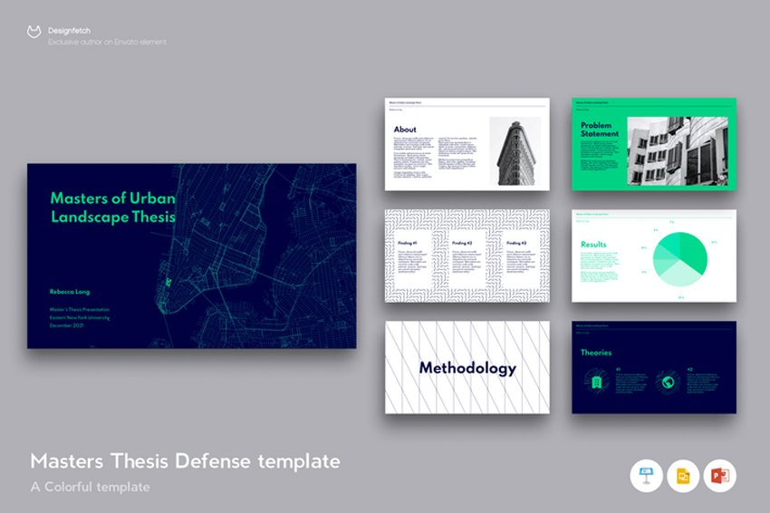 Master Thesis Poster Template on Google Slides, a premium template from Envato Elements