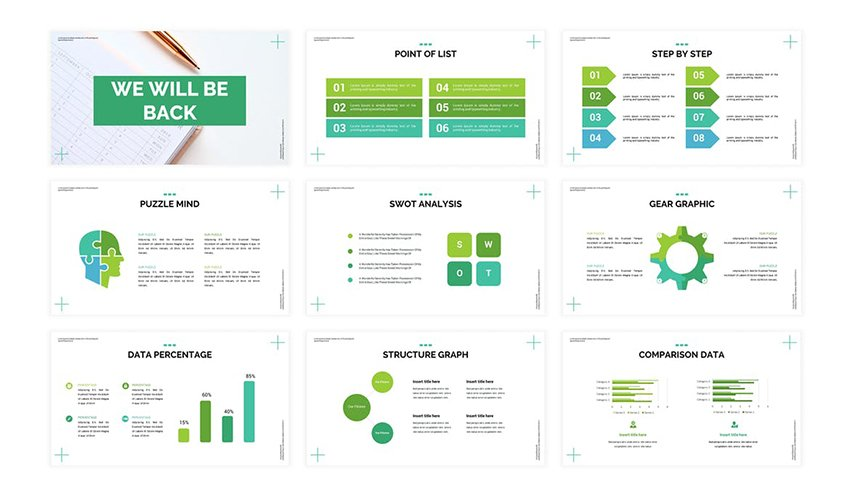 Calendar - Business Google Slide Template, a premium template from Envato Elements that uses bright colors as a highlight
