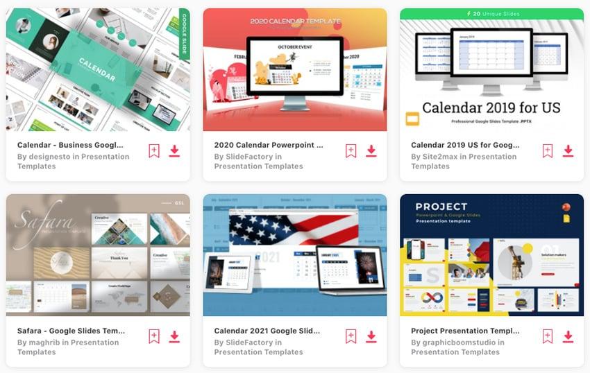Selection of premium Google Slides calendar templates on Envato Elements