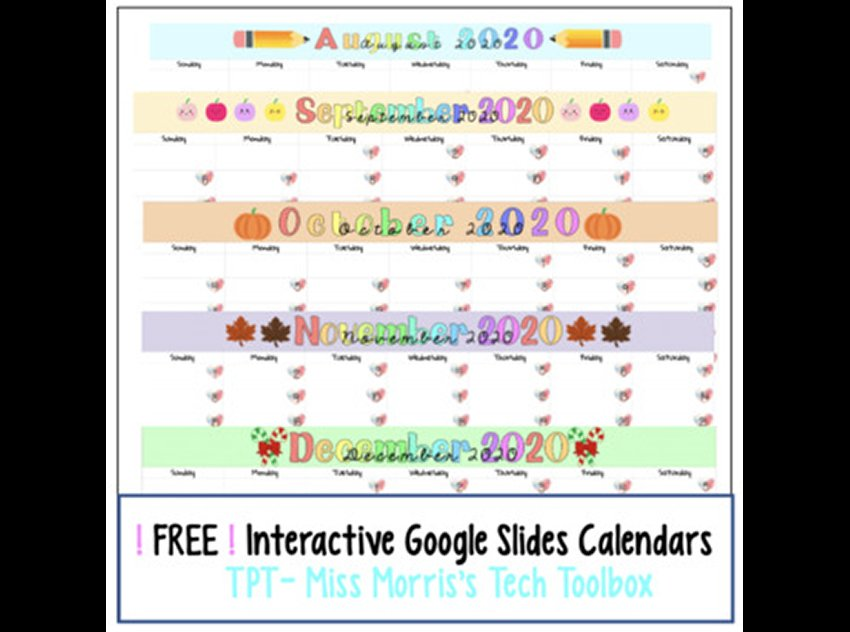Free August to December 2020 Calendars