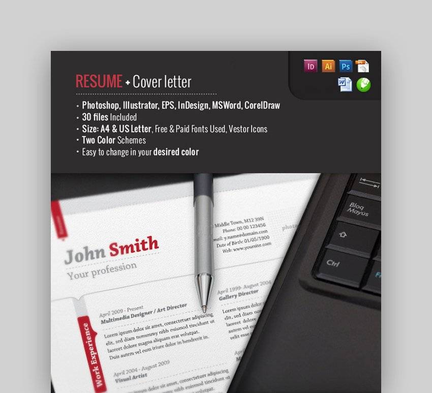 Resume Cover Letter and Resignation Letter Sample Word Template