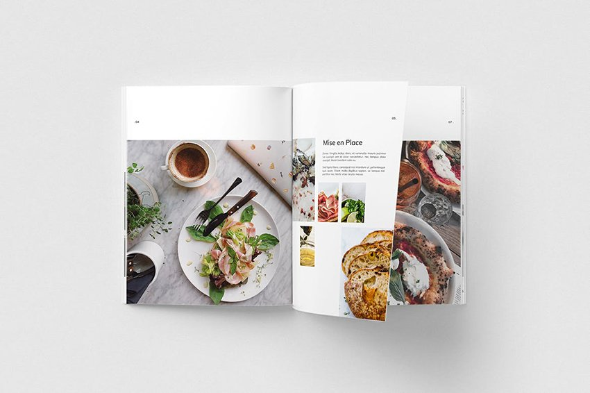 Minimalistic Cookbook from Envato Elements, uses loads of white space to create a clean look.