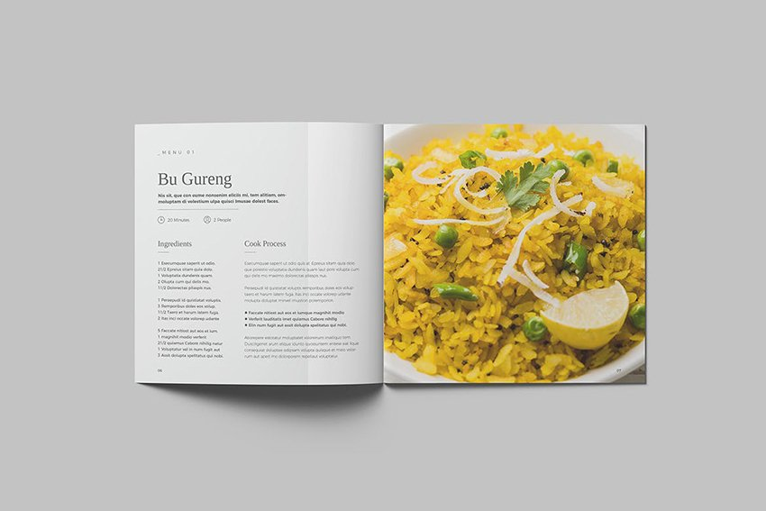 Square Cookbook, a premium template from Envato Elements that helps you keep copy concise