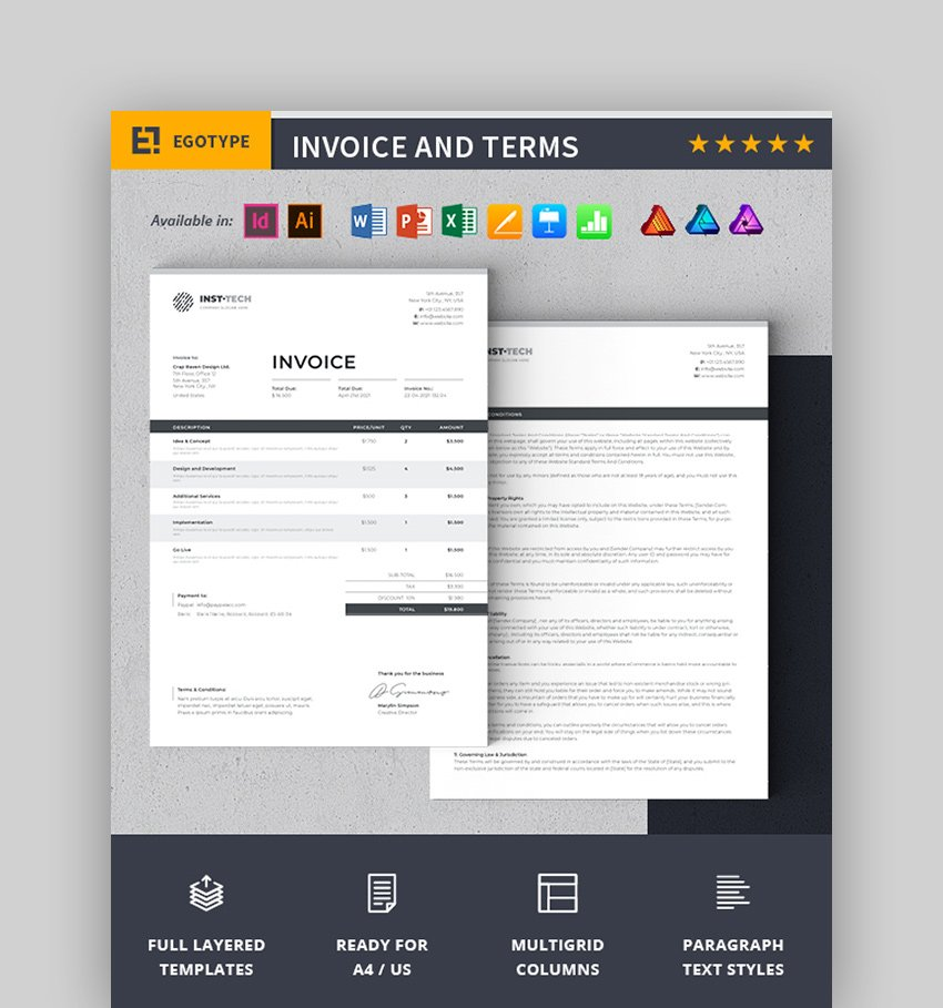 Invoice and Terms MS Word Templates
