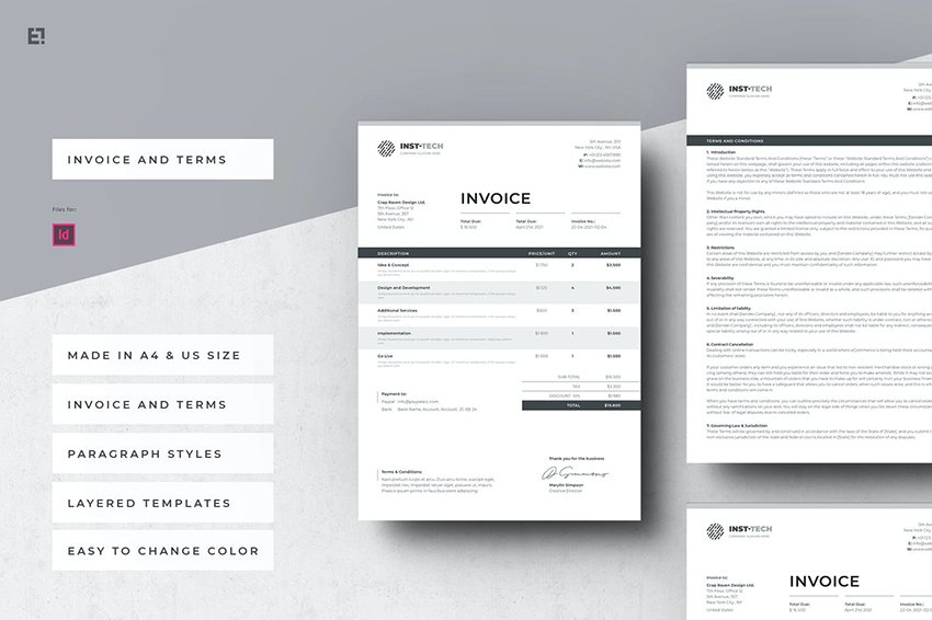 Invoice and Terms, a premium MS Word template on Envato Elements
