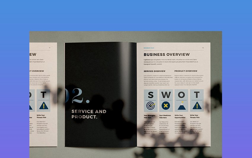 Blue Accents - Business Plan Layout With SWOT Analysis