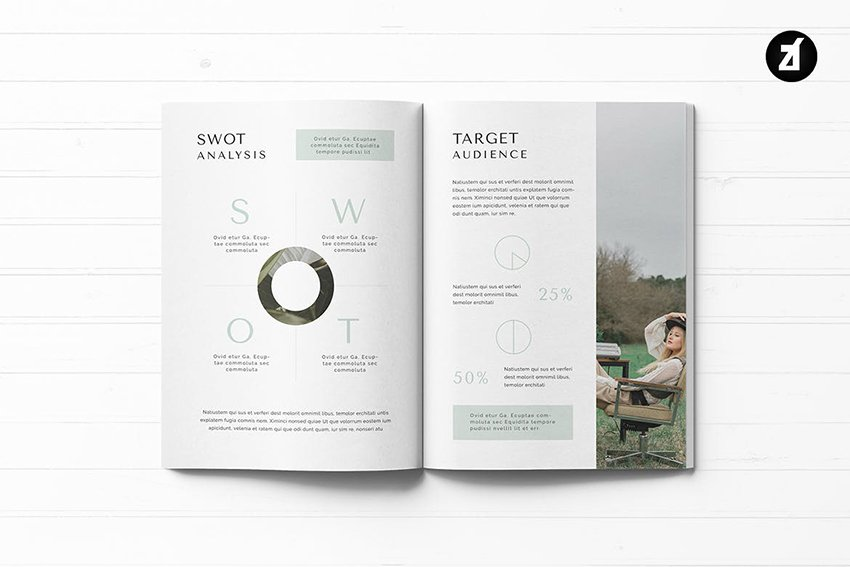 Serenity Business Proposal from Envato Elements, with a clean graphic SWOT