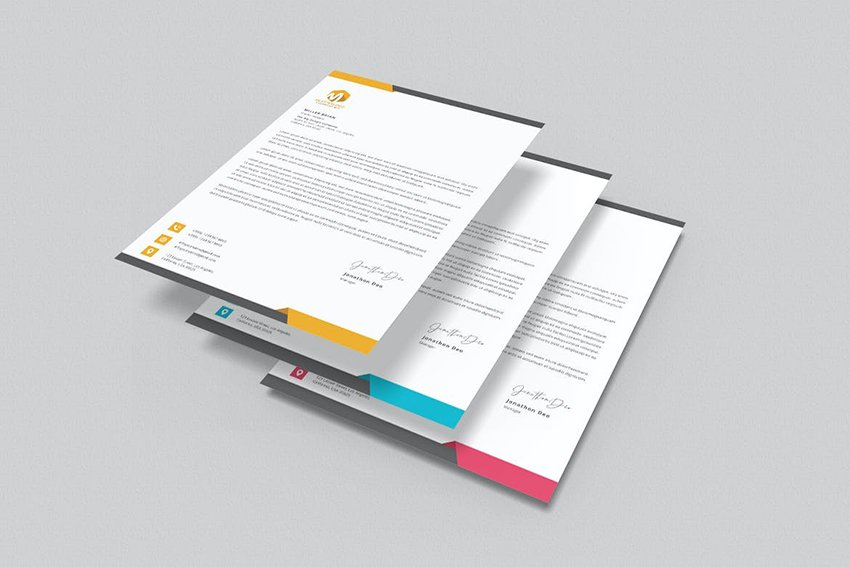 Letterhead Word, a premium template on Envato Elements that comes with color options
