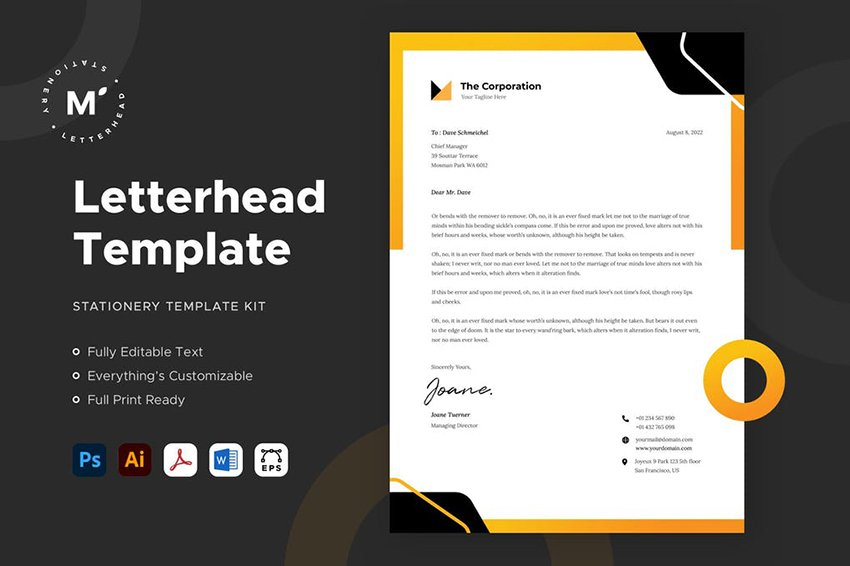 Letterhead Template, a premium MS Word template from Envato Elements