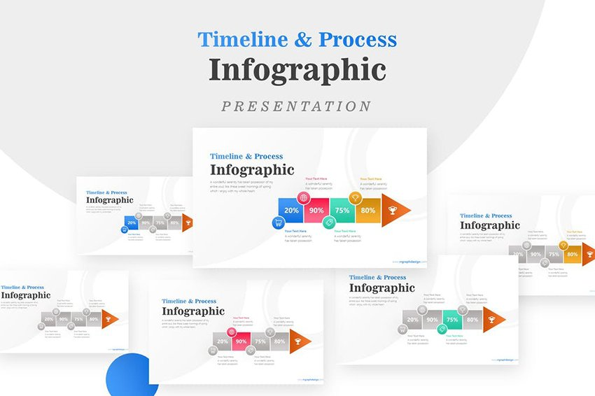 Arrow Timeline Infographic, highlight or show separation with colors
