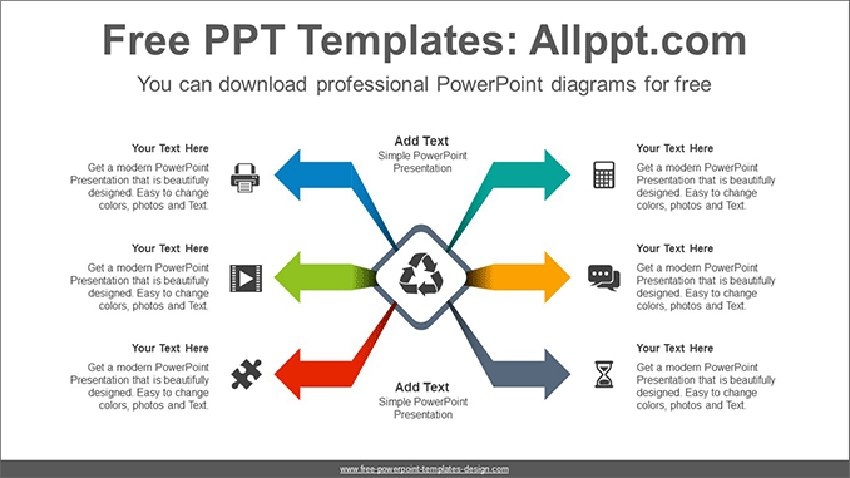 Center Symmetry Diagram - Arrow PPT Template Free